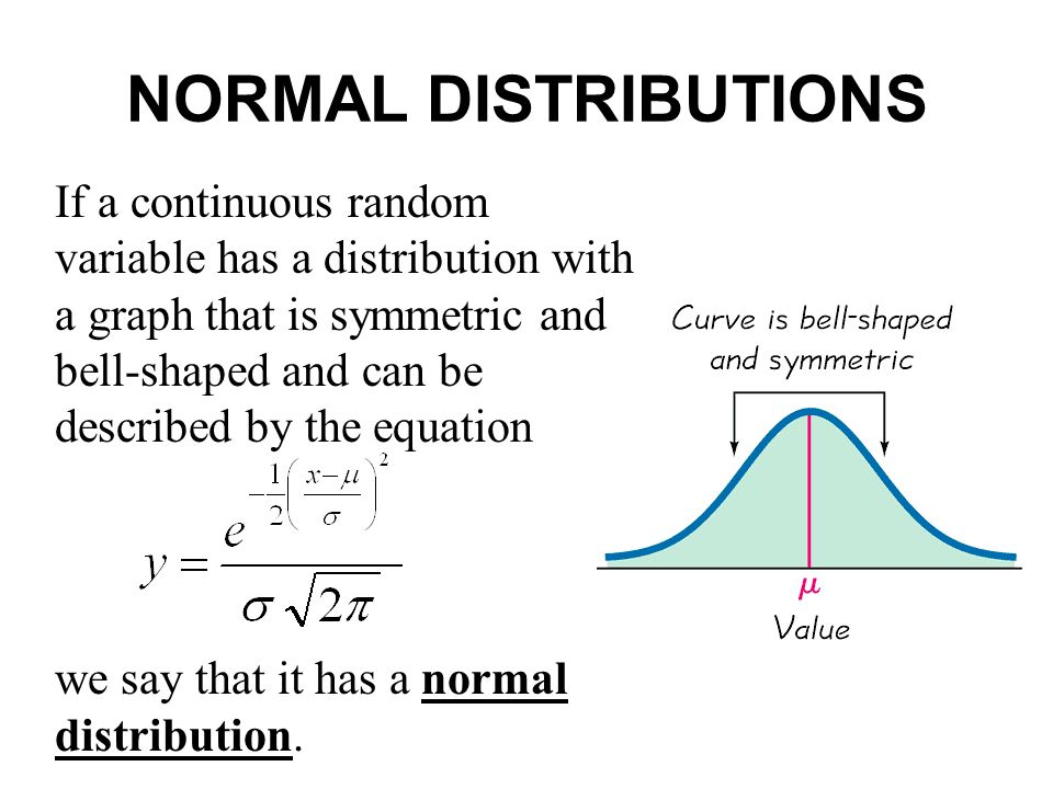 If a continuous random variable has a distribution with a graph that is symmetric and bell-shaped and can be described by the equation we say that it
