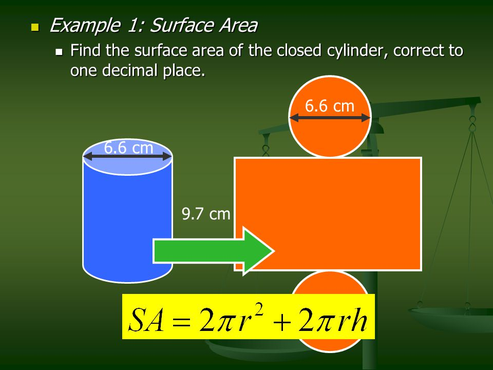 Example 1: Surface Area Example 1: Surface Area Find the surface area of the closed cylinder, correct to one decimal place. Find the surface area of t