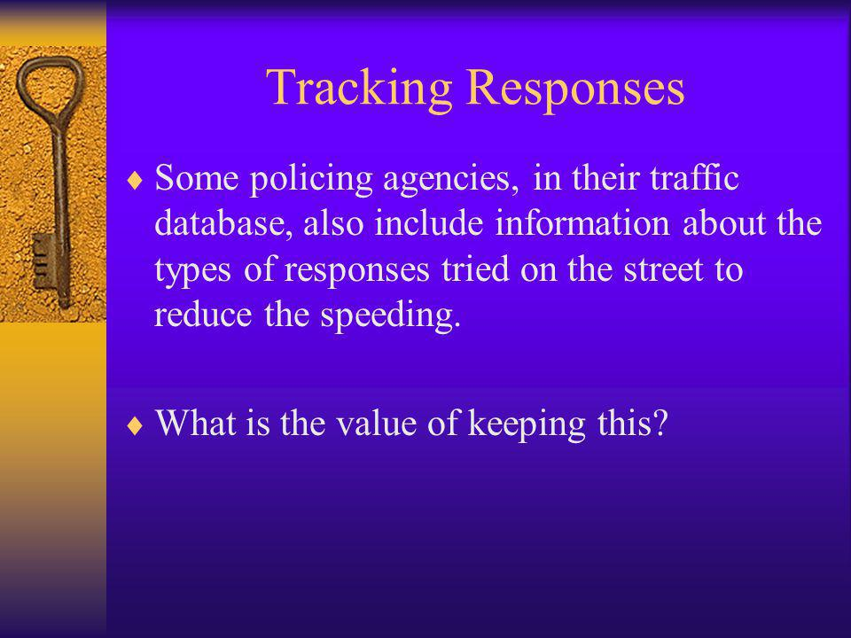 Tracking Responses  Some policing agencies, in their traffic database, also include information about the types of responses tried on the street to reduce the speeding.