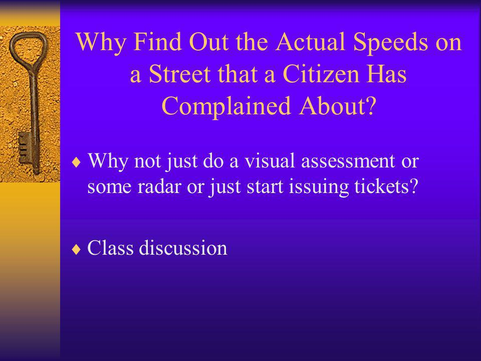 Why Find Out the Actual Speeds on a Street that a Citizen Has Complained About.