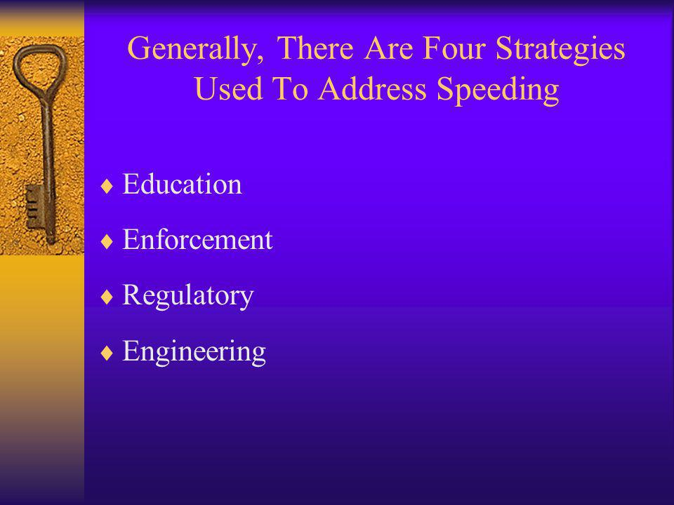 Generally, There Are Four Strategies Used To Address Speeding  Education  Enforcement  Regulatory  Engineering