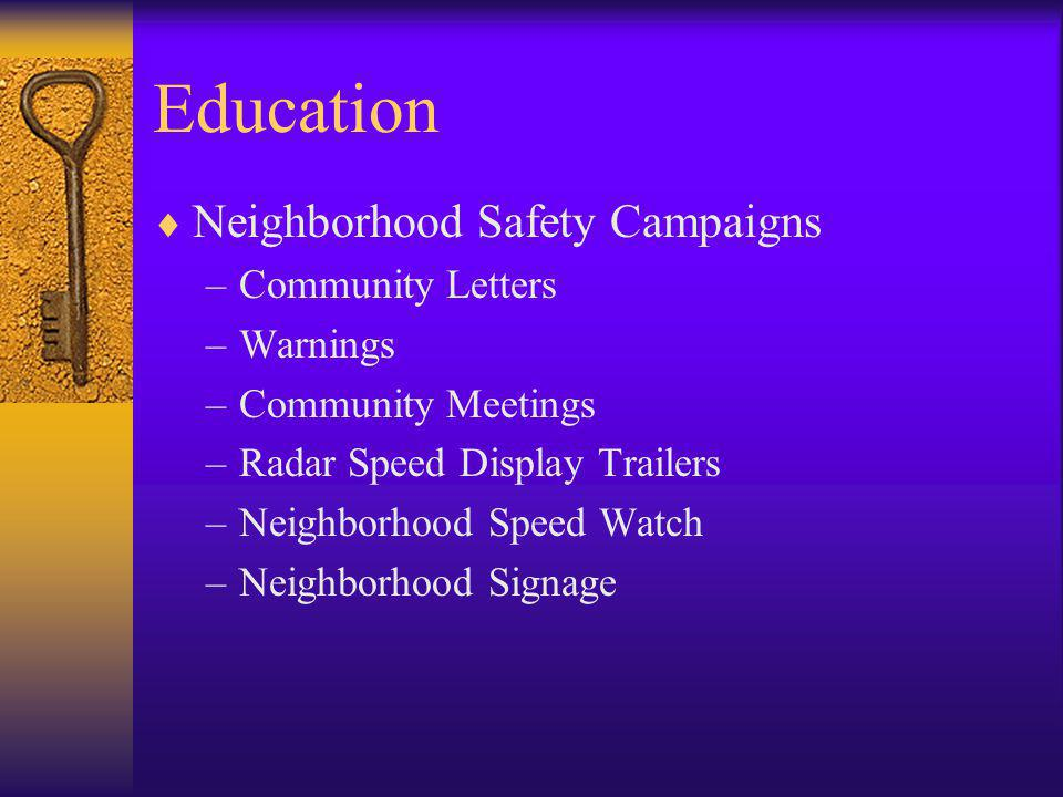 Education  Neighborhood Safety Campaigns –Community Letters –Warnings –Community Meetings –Radar Speed Display Trailers –Neighborhood Speed Watch –Ne