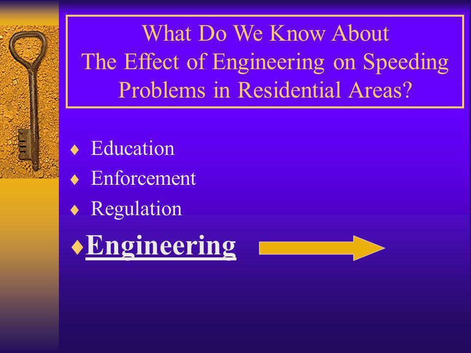  Education  Enforcement  Regulation  Engineering What Do We Know About The Effect of Engineering on Speeding Problems in Residential Areas?