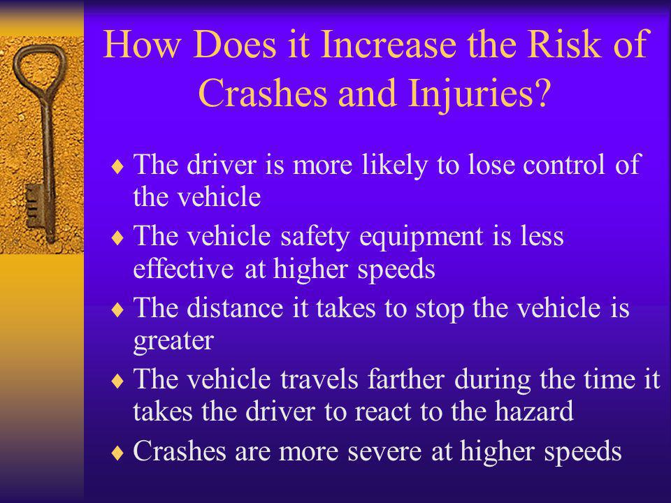 How Does it Increase the Risk of Crashes and Injuries?  The driver is more likely to lose control of the vehicle  The vehicle safety equipment is le