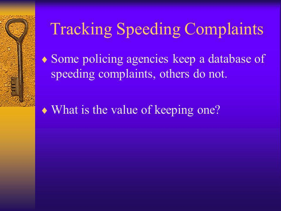 Tracking Speeding Complaints  Some policing agencies keep a database of speeding complaints, others do not.  What is the value of keeping one?