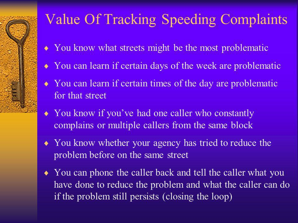 Value Of Tracking Speeding Complaints  You know what streets might be the most problematic  You can learn if certain days of the week are problemati