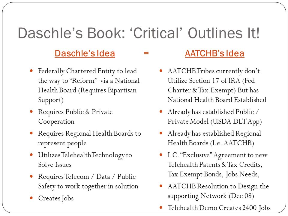 """Daschle's Book: 'Critical' Outlines It! Daschle's Idea =AATCHB's Idea Federally Chartered Entity to lead the way to """"Reform"""" via a National Health Boa"""
