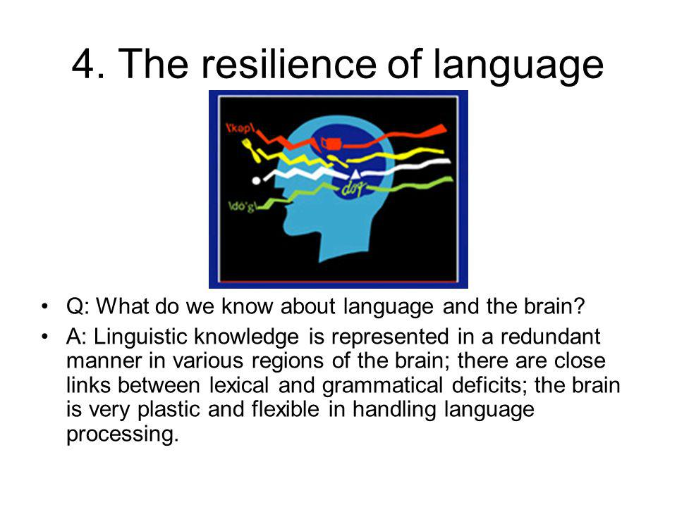 4. The resilience of language Q: What do we know about language and the brain.