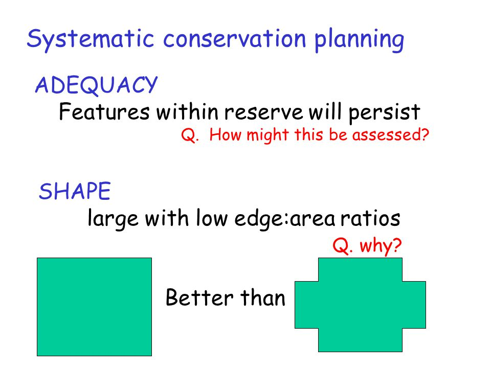 Systematic conservation planning ADEQUACY Features within reserve will persist Q. How might this be assessed? SHAPE large with low edge:area ratios Q.