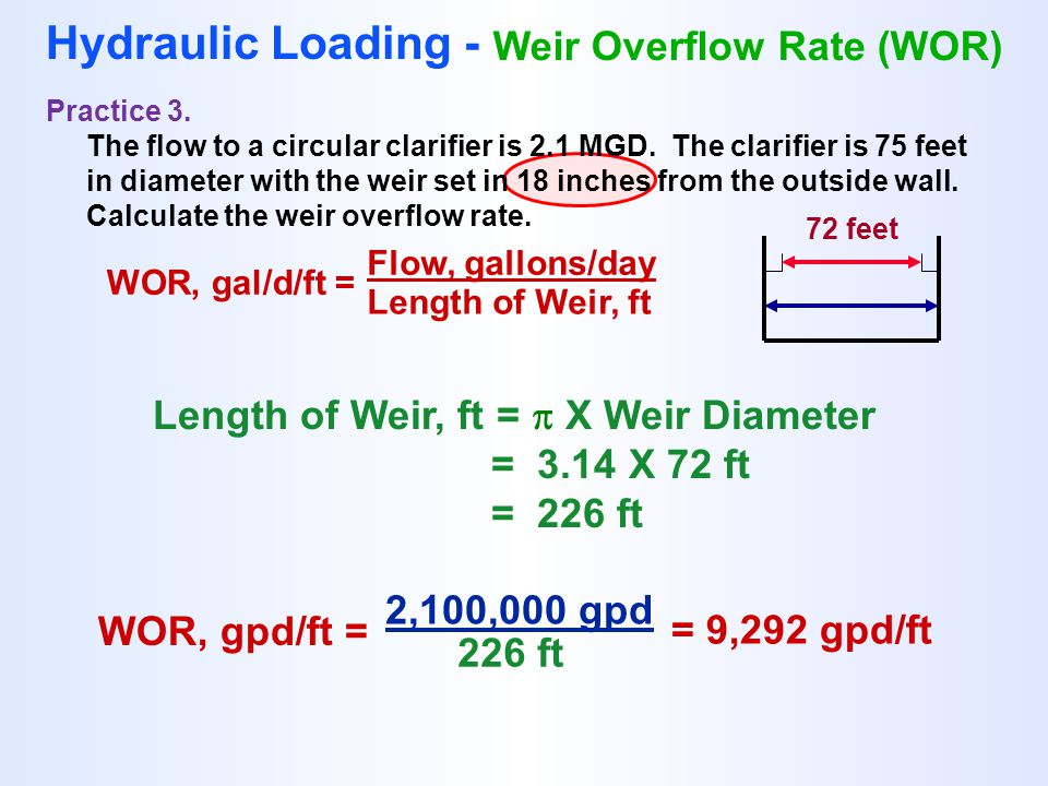 WOR, gal/d/ft = Flow, gallons/day Length of Weir, ft Hydraulic Loading - Weir Overflow Rate (WOR) Practice 3. The flow to a circular clarifier is 2.1
