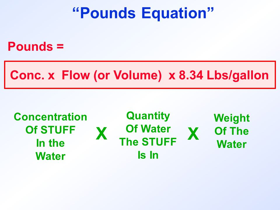"Pounds = Concentration Of STUFF In the Water Conc. x Flow (or Volume) x 8.34 Lbs/gallon X Quantity Of Water The STUFF Is In Weight Of The Water X ""Pou"