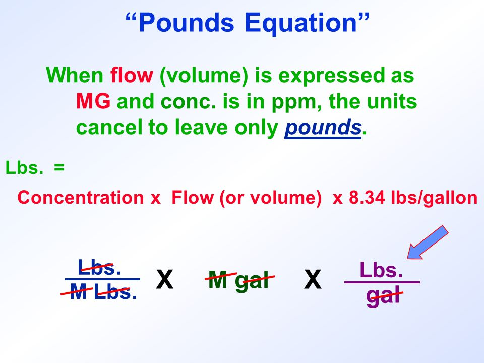 Lbs. = When flow (volume) is expressed as MG and conc. is in ppm, the units cancel to leave only pounds. Concentration x Flow (or volume) x 8.34 lbs/g
