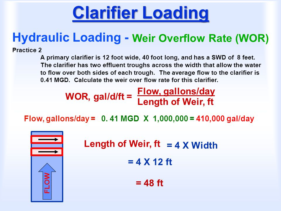 Clarifier Loading Hydraulic Loading - Weir Overflow Rate (WOR) WOR, gal/d/ft = Flow, gallons/day Length of Weir, ft Practice 2 A primary clarifier is