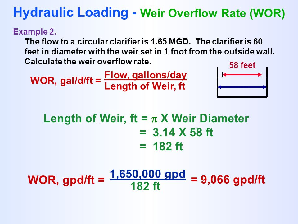 WOR, gal/d/ft = Flow, gallons/day Length of Weir, ft Hydraulic Loading - Weir Overflow Rate (WOR) Example 2. The flow to a circular clarifier is 1.65