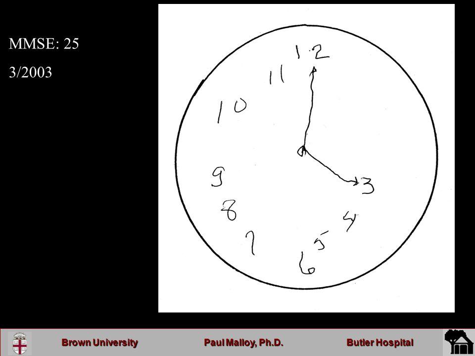 Brown UniversityPaul Malloy, Ph.D.Butler Hospital MMSE: 25 3/2003