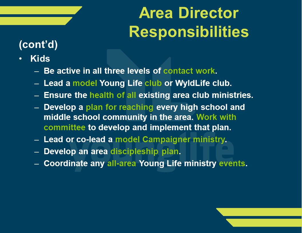Area Director Responsibilities (cont'd) Kids –Be active in all three levels of contact work.