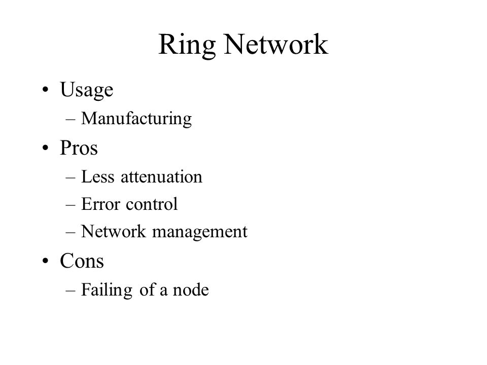 Ring Network Usage –Manufacturing Pros –Less attenuation –Error control –Network management Cons –Failing of a node