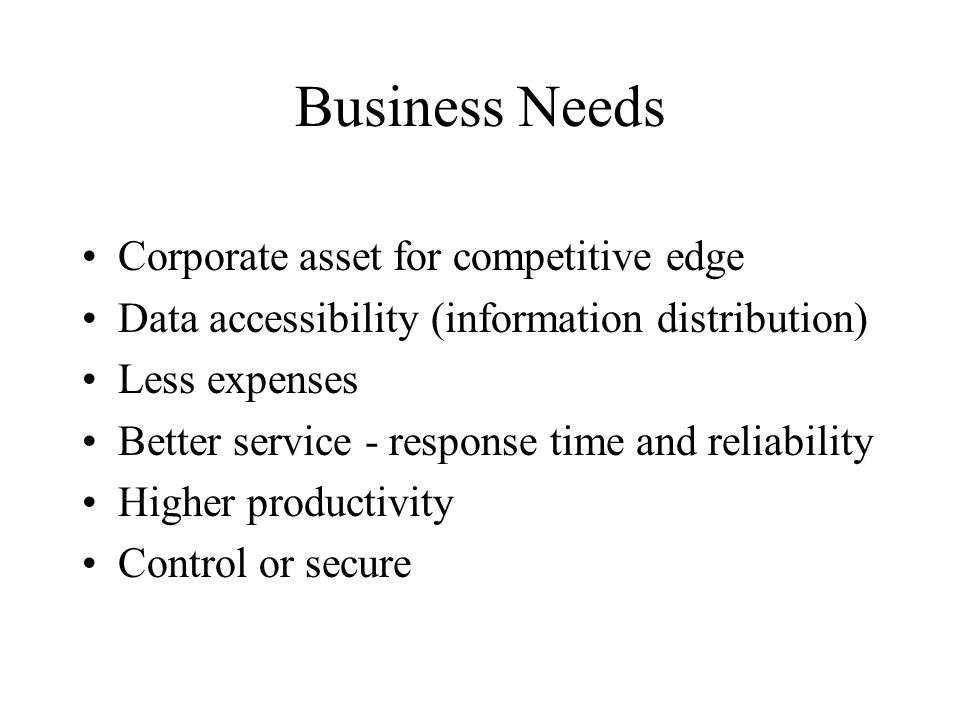 Business Needs Corporate asset for competitive edge Data accessibility (information distribution) Less expenses Better service - response time and reliability Higher productivity Control or secure