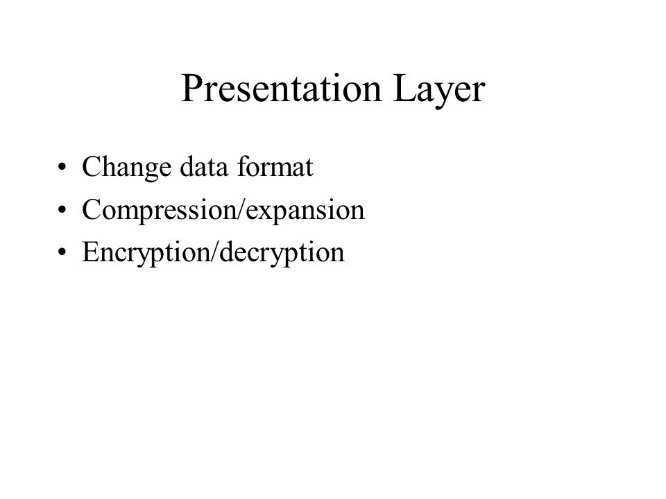 Presentation Layer Change data format Compression/expansion Encryption/decryption