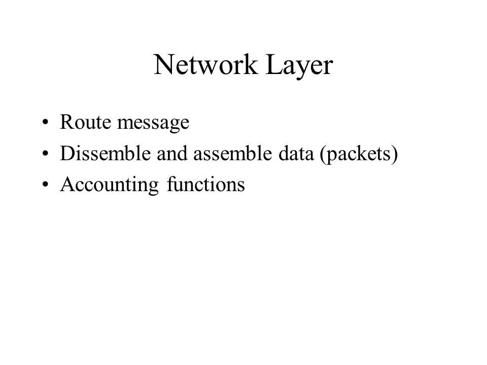 Network Layer Route message Dissemble and assemble data (packets) Accounting functions