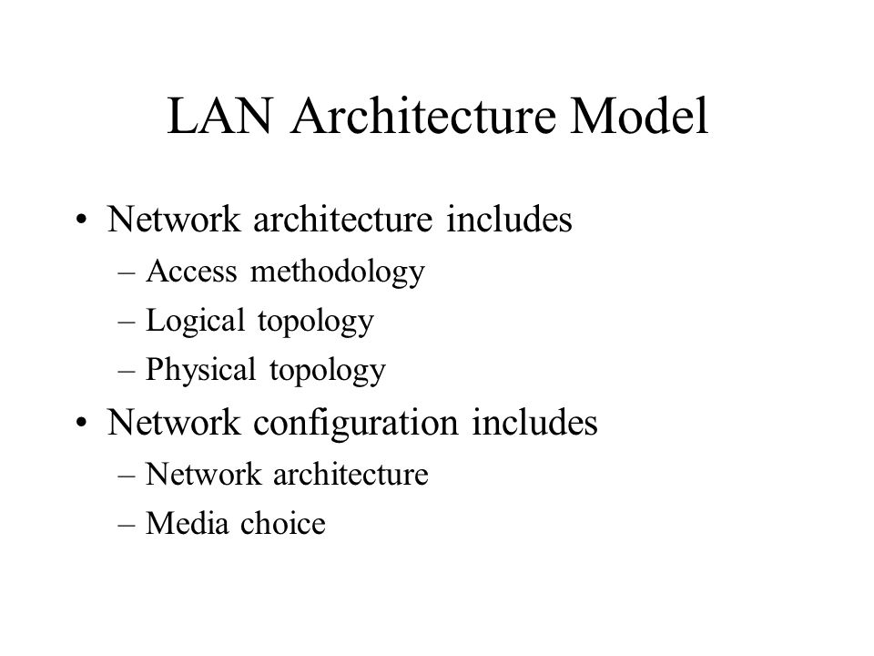 LAN Architecture Model Network architecture includes –Access methodology –Logical topology –Physical topology Network configuration includes –Network architecture –Media choice