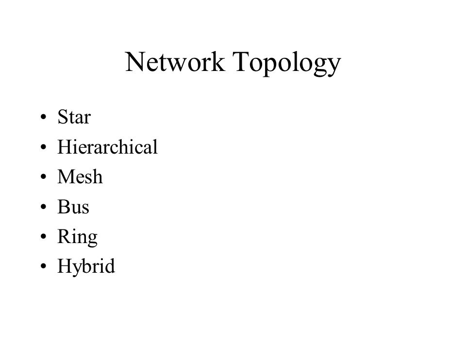 Network Topology Star Hierarchical Mesh Bus Ring Hybrid