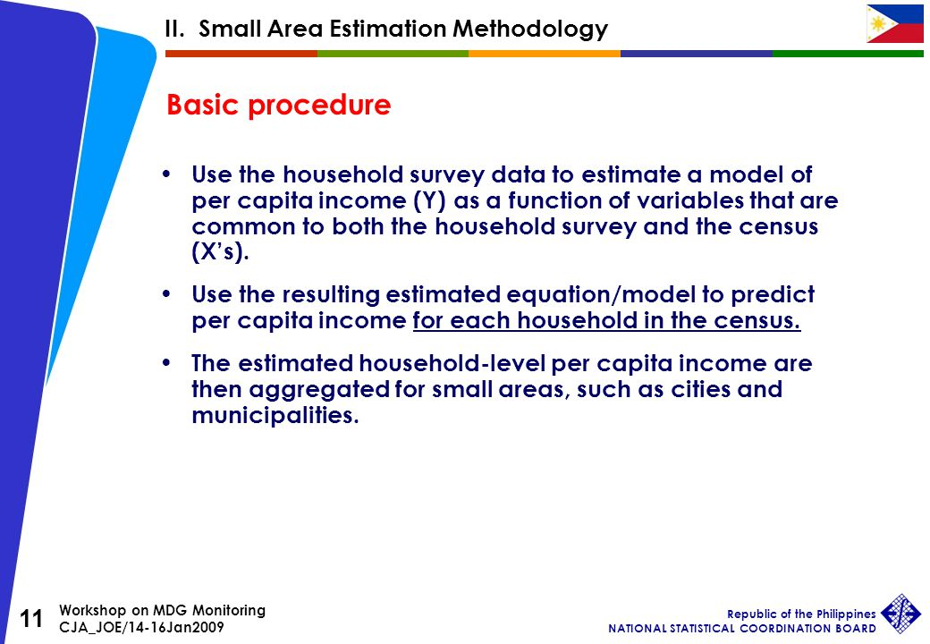 Workshop on MDG Monitoring CJA_JOE/14-16Jan2009 Republic of the Philippines NATIONAL STATISTICAL COORDINATION BOARD 11 Use the household survey data to estimate a model of per capita income (Y) as a function of variables that are common to both the household survey and the census (X's).