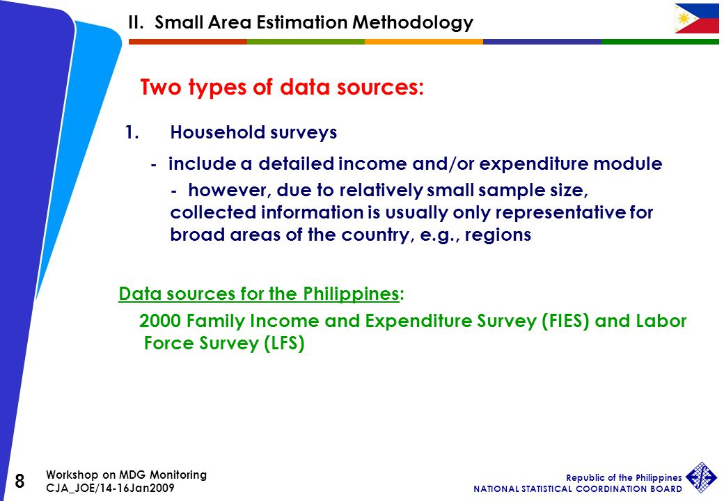 Workshop on MDG Monitoring CJA_JOE/14-16Jan2009 Republic of the Philippines NATIONAL STATISTICAL COORDINATION BOARD 8 Two types of data sources: 1.Household surveys - include a detailed income and/or expenditure module - however, due to relatively small sample size, collected information is usually only representative for broad areas of the country, e.g., regions Data sources for the Philippines: 2000 Family Income and Expenditure Survey (FIES) and Labor Force Survey (LFS) II.