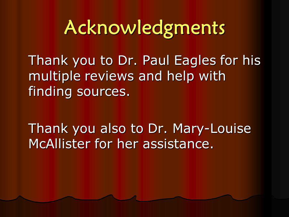 Acknowledgments Thank you to Dr.