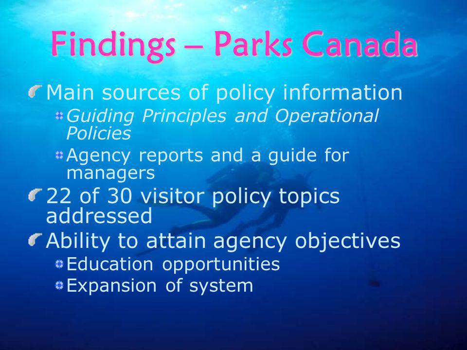Findings – Parks Canada Main sources of policy information Guiding Principles and Operational Policies Agency reports and a guide for managers 22 of 30 visitor policy topics addressed Ability to attain agency objectives Education opportunities Expansion of system