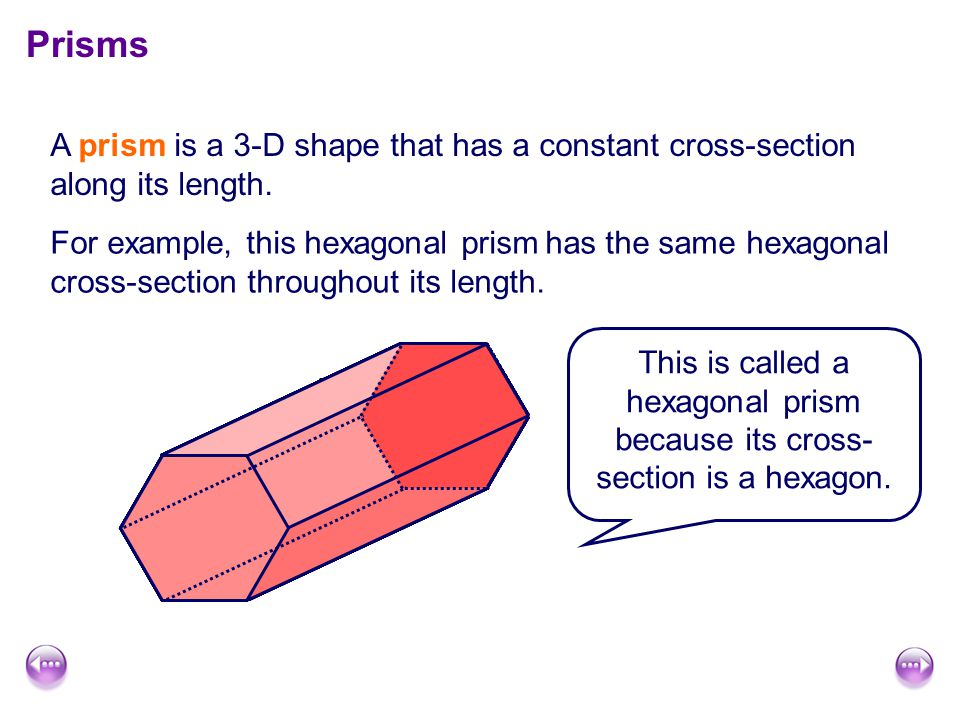 Prisms A prism is a 3-D shape that has a constant cross-section along its length.