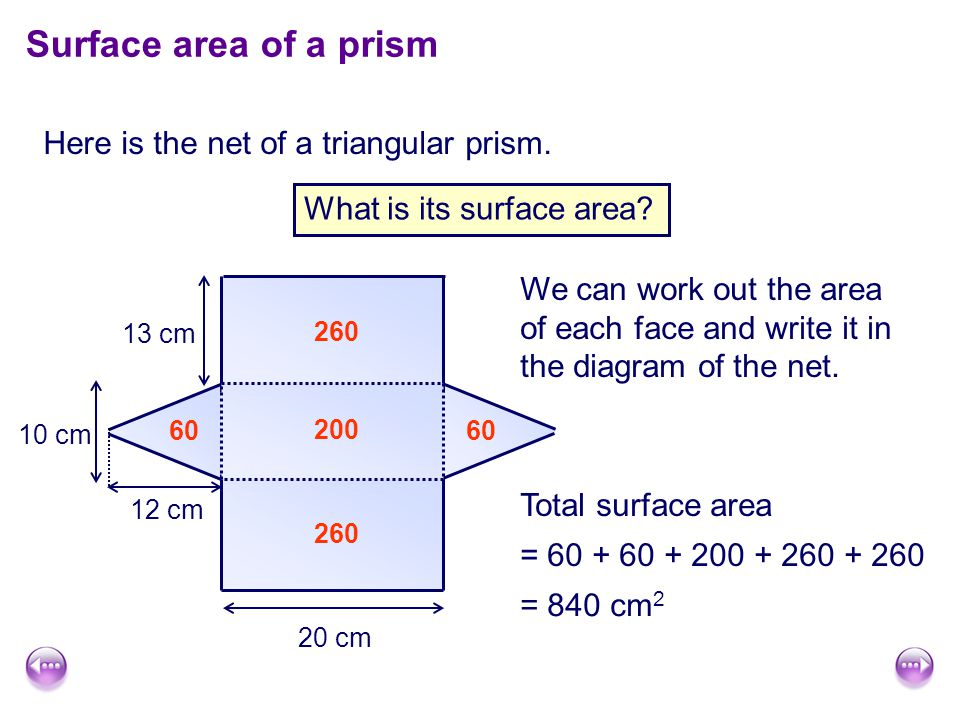 Here is the net of a triangular prism.Surface area of a prism What is its surface area.