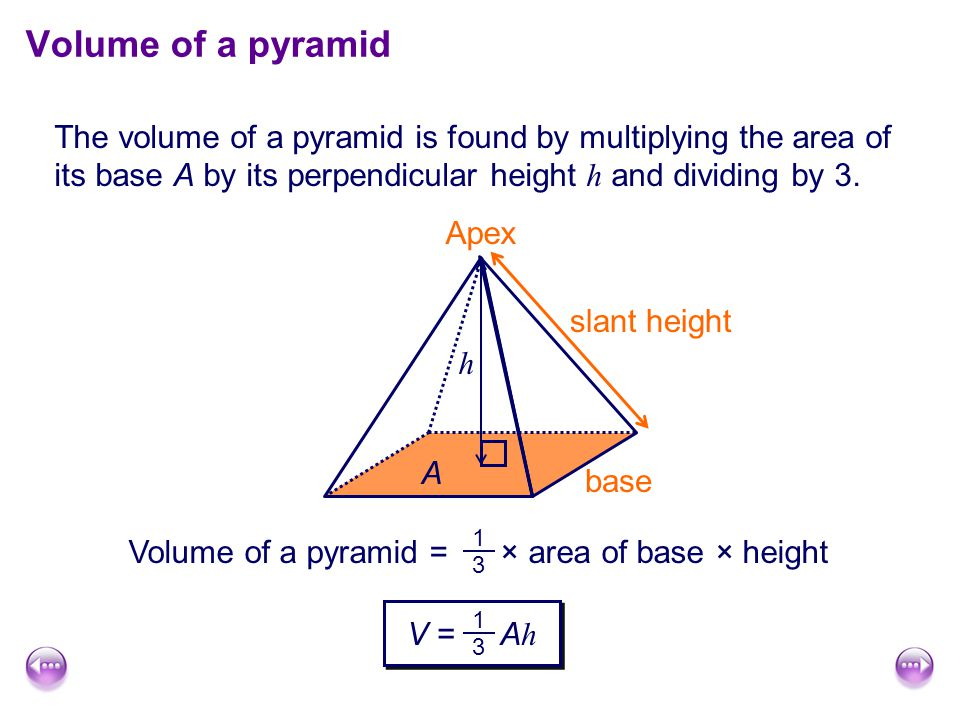 The volume of a pyramid is found by multiplying the area of its base A by its perpendicular height h and dividing by 3.