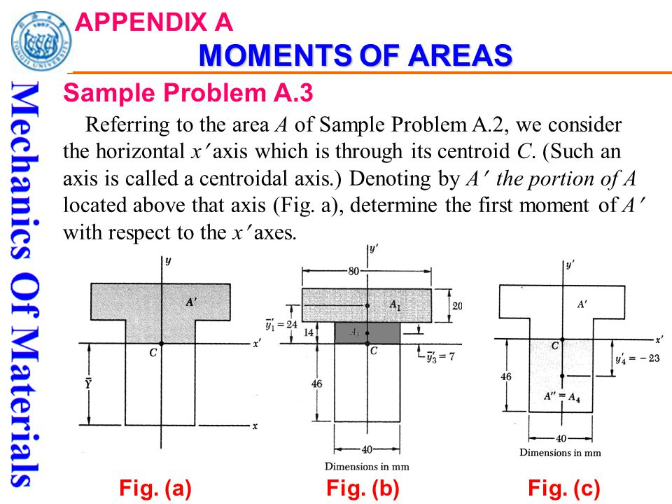MOMENTS OF AREAS APPENDIX A MOMENTS OF AREAS Sample Problem A.3 Referring to the area A of Sample Problem A.2, we consider the horizontal x axis which