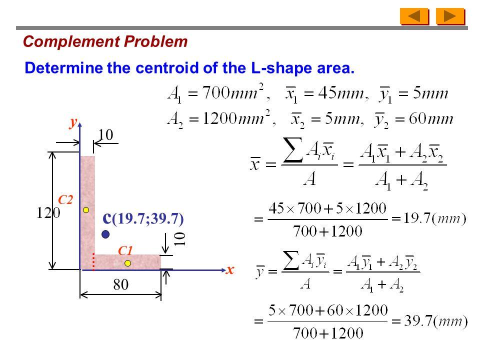 Complement Problem 80 10 c (19.7;39.7) x y C1 C2 Determine the centroid of the L-shape area.