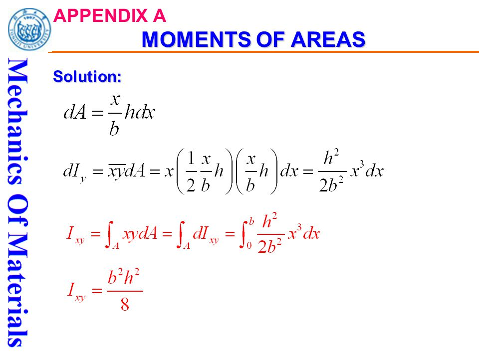 MOMENTS OF AREAS APPENDIX A MOMENTS OF AREASSolution: