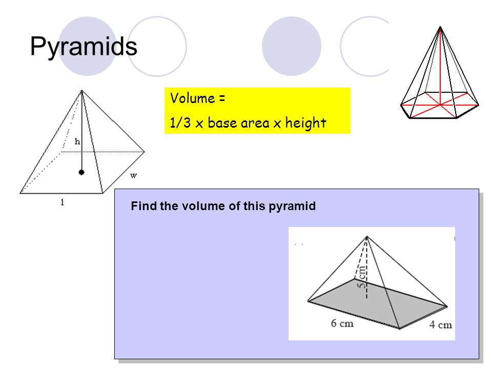 Volume = 1/3 x base area x height Find the volume of this pyramid