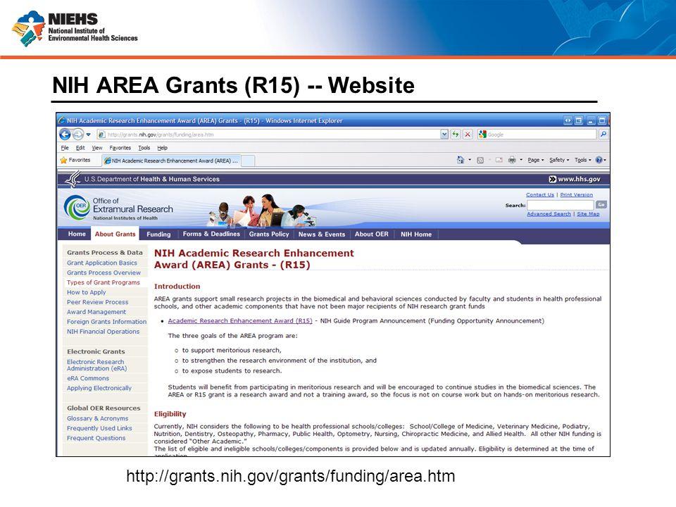 http://grants.nih.gov/grants/funding/area.htm NIH AREA Grants (R15) -- Website