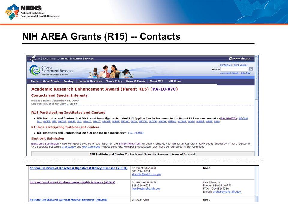 NIH AREA Grants (R15) -- Contacts