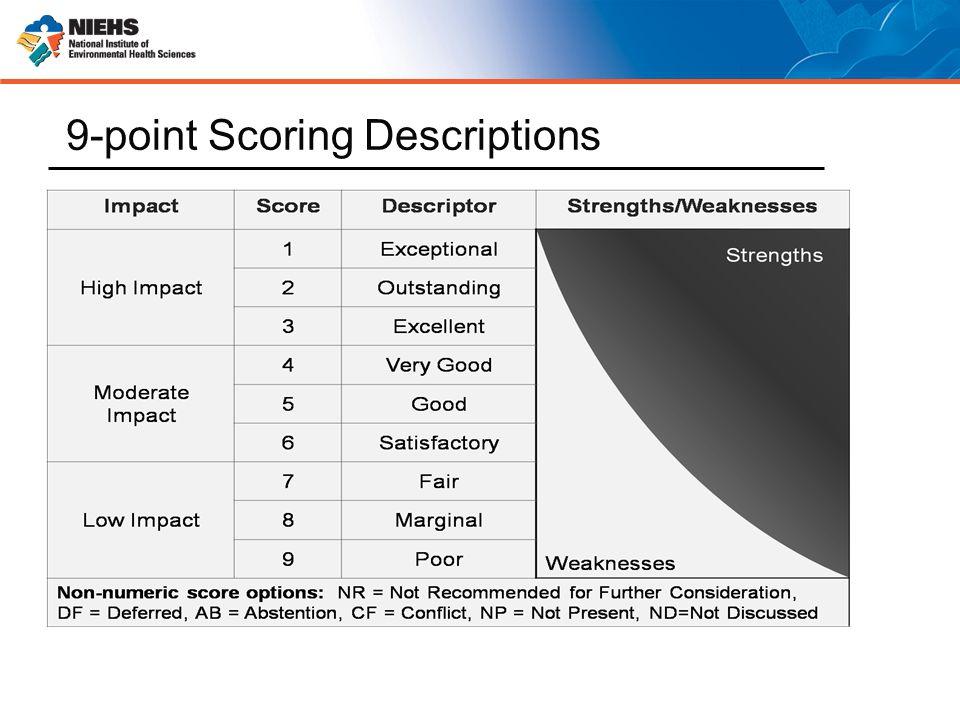 9-point Scoring Descriptions Weaknesses
