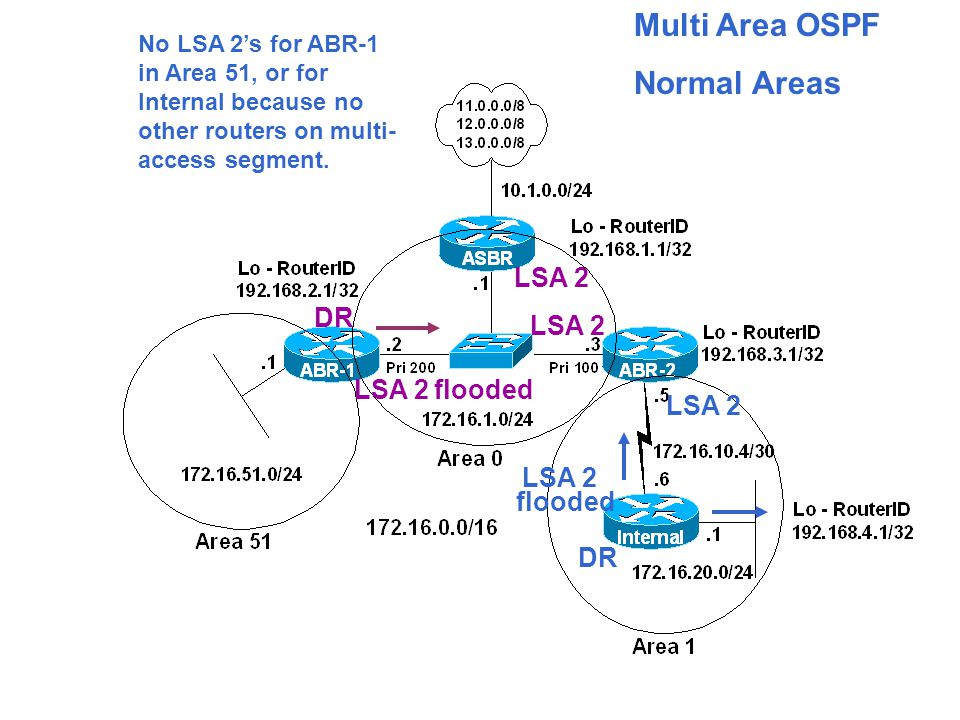 Multi Area OSPF Normal Areas LSA 2 No LSA 2's for ABR-1 in Area 51, or for Internal because no other routers on multi- access segment.