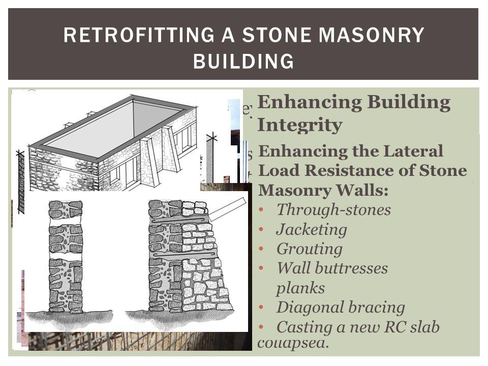 RETROFITTING A STONE MASONRY BUILDING Existing stone masonry buildings located in areas of high seismic risk can be economically retrofitted. Seismic