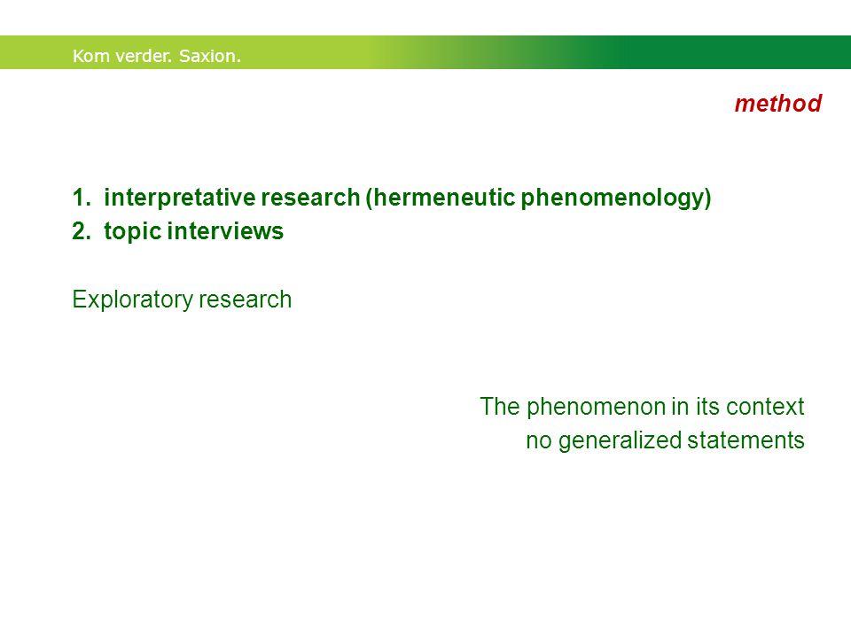 Kom verder. Saxion. method 1.interpretative research (hermeneutic phenomenology) 2.topic interviews Exploratory research The phenomenon in its context