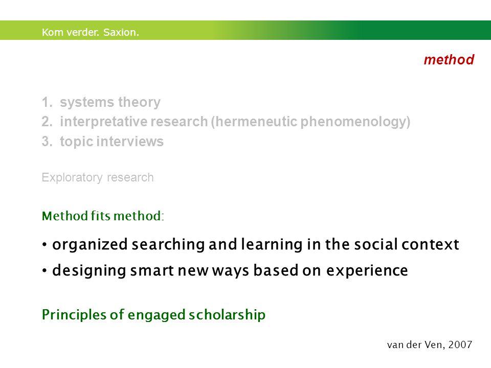 Kom verder. Saxion. method 1.systems theory 2.interpretative research (hermeneutic phenomenology) 3.topic interviews Exploratory research Method fits