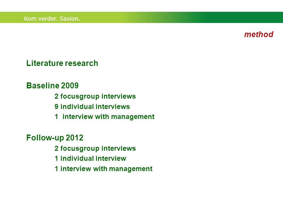 Kom verder. Saxion. Baseline 2009 2 focusgroup interviews 9 individual interviews 1 interview with management Follow-up 2012 2 focusgroup interviews 1