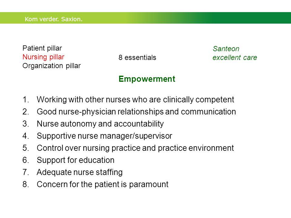 Kom verder. Saxion. Patient pillar Nursing pillar Organization pillar Santeon excellent care 1.Working with other nurses who are clinically competent
