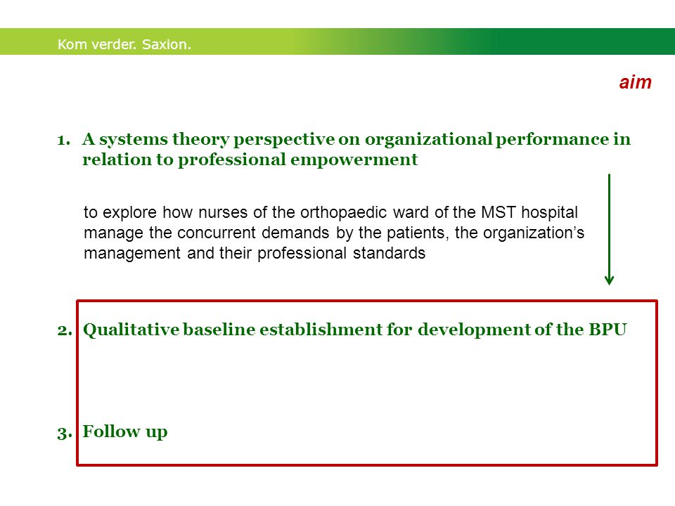 Kom verder. Saxion. aim 1.A systems theory perspective on organizational performance in relation to professional empowerment 2. Qualitative baseline e