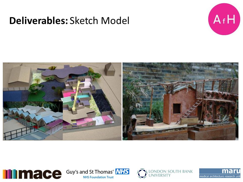 AfH Student Design Charette Week 15-18 th January 2013 Deliverables: Sketch Model