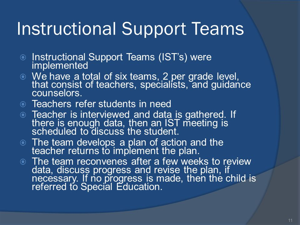 Instructional Support Teams  Instructional Support Teams (IST's) were implemented  We have a total of six teams, 2 per grade level, that consist of