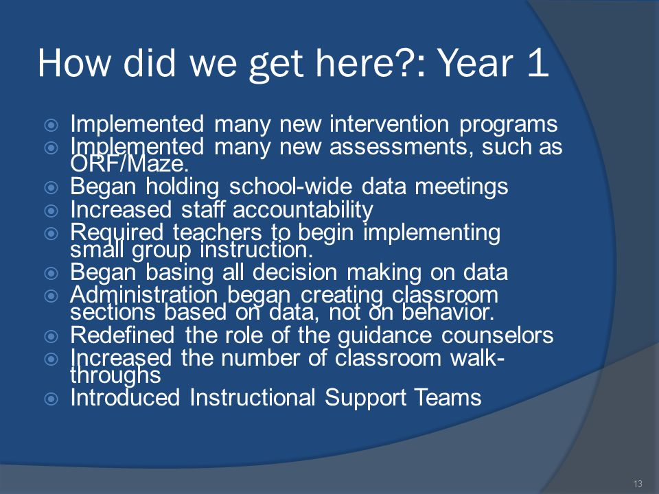 How did we get here?: Year 1  Implemented many new intervention programs  Implemented many new assessments, such as ORF/Maze.  Began holding school